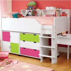 Maximize bedroom space with a Juicy Fruits children's mid sleeper bed (left-hand ladder). A space saving super star this bed has bundles of storage.
