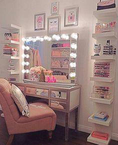 Vanity Bedroom Makeup Dressing Table Home Makeup Dressing Makeup Dressing Table, Dressing Tables, Vanity Room, Glam Room, Girl Bedroom Designs, Makeup Rooms, Beauty Room, Dream Rooms, New Room