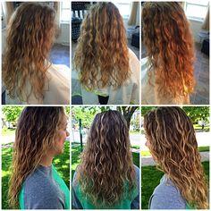 Before & After Deva curl cut Balayage & Ombré Balayage Hair Caramel, Balayage Ombré, Balayage Hair Blonde, Wavy Perm, Perm Hair, Hair Perms, Long Layered Curly Hair, Wavy Hair, Deva Curl Cut