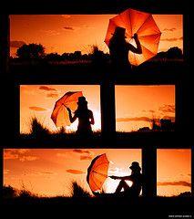 color. silhouette. umbrella.