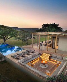 Dream Home Design, Modern House Design, Kleiner Pool Design, Rooftop Design, Outdoor Fireplace Designs, Luxury Homes Dream Houses, Backyard Patio Designs, Dream House Exterior, Dream House Plans