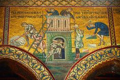 Byzantine mosaics in the Cathedral of Monreale- Building the Tower of Babel .