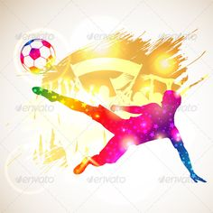Soccer Player .      Bright Rainbow Silhouette Soccer Player and Fans on grunge background, vector illustration. File saved as EPS 10. Use transparency effects and different blending modes to add volume and create shadows.                     Created: 5 February 14                    Graphics Files Included:   JPG Image, Vector EPS                   Layered:   Yes                   Minimum Adobe CS Version:   CS             Tags      background, ball, banner, bright, championship…