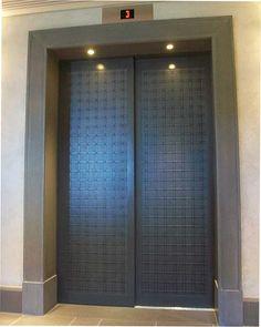 Lift door covered with VeroMetal Brass, black patina