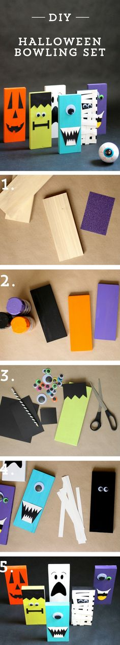 Check out this #diy #bowling set for #kid's #halloween parties!