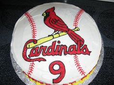 Cardinals Bird on Bat cake