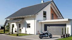 Die stilvolle Doppelgarage mit Vordach.