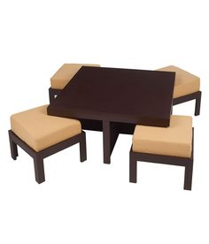 Trendy Coffee Table With Four Stools - Light Brown. More colors available!