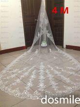 Luxe 4 M velo de novia 2016 un Tiers paillettes bordure en dentelle Purfle avec Appliques de la cathédrale de longue voiles de mariage avec peigne(China (Mainland))