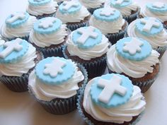 Christening cupcakes...teddy bear and crosses