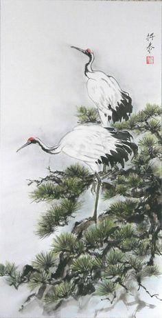 Свиток Chinese Landscape Painting, Chinese Painting, Watercolor Landscape, Landscape Paintings, Chinese Artwork, Japan Painting, Tinta China, Herons, Classic Paintings