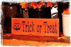 Halloween Decor-Trick or Treat with Jack O Lantern Bucket-Halloween Party Decor/Fall Sign/Primitive Fall Decor/Fall Porch Decor/