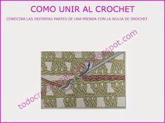 Coser con aguja de ganchillo, conectar partes de tejido