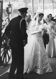 Queen Elizabeth (Princess Elizabeth) at her wedding. A different angle from what I have seen before.