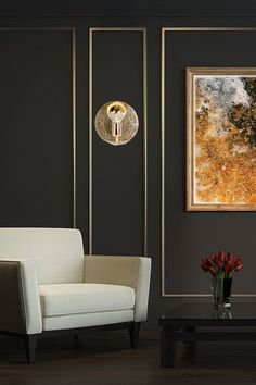 new house options This Modern Reflective Brass Wall Sconce by looks amazing on dark walls. Sconces Living Room, Living Room Lighting, Living Room Decor, Hallway Lighting, Living Room Modern, Living Room Designs, Sunk In Living Room, Modern Wall Paneling, Wall Panelling