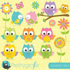Summer owls clipart