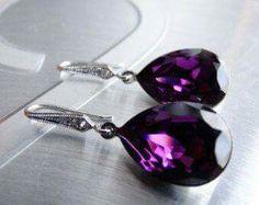 391aa98535c3 OnVacation Happy Holidays Purple Earrings Amethyst Earrings Crystal  Swarovski Wedding Earrings Bridesmaids Gift Wedding Purple Jewelry Ameth  USD) by ...