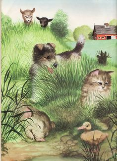 """Inside front cover illustration of the over-sized edition of the """"Golden Book of Baby Farm Animals"""", 1953, 1959, 1972, by Garth Williams, Racine, WI."""