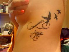 Memorial rib tattoo birds, infinite, mother