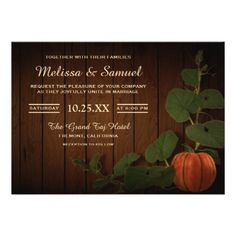 Vintage Rustic Country Pumpkin Wedding Invitation - wood wedding style nature diy customize personalize marriage