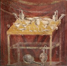 Fresco at the inner side of the north wall of the tomb of Gaius Vestorius Priscus. Painting of the silver flasks, cups, bowls, dishes and ladles used at the funeral feast. Rome Painting, Mural Painting, Fresco, Tempera, Pompeii And Herculaneum, Roman Art, Historical Monuments, Mosaic Wall, Ancient Artifacts
