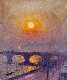 "Закат над мостом Ватерлоо"", 1916, Эмиль Клаус"