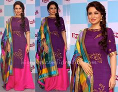 Tisha saxena, lovely colours and design, palazzos and madras print dupatta