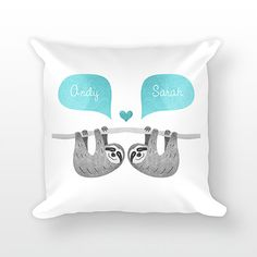 SLOTH Pillow Animal Couple Pillow Personalized by HappyCatPrintsCo
