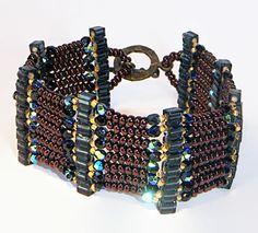 Bead Bracelet, Glass Beaded Bracelet, Brown, Black, Gold and Bronze Bracelet - pinned by pin4etsy.com