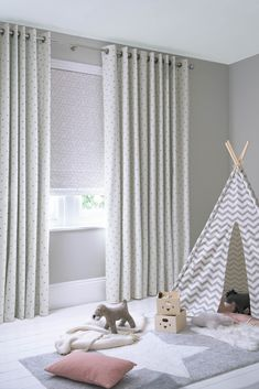 Curtains are stylish, cosy and inherently child safe, so are perfect for nurseries, playrooms and teen bedrooms Childrens Blinds, Nursery Blinds, Kids Bedroom, Teen Bedrooms, Bedroom Ideas, Nursery Neutral, Gender Neutral, About Uk, House Design