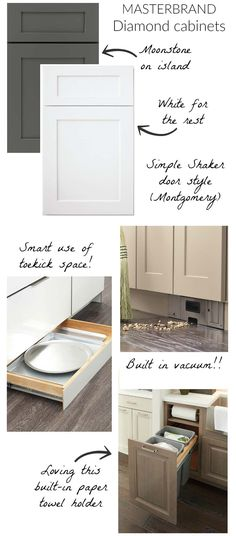 Loving my kitchen cabinet plan - gray and white cabinets with the best storage and organization features! furniture vocabulary Countertops, Flooring, Lighting, & More: Sharing ALL of My Choices for Our New Kitchen!