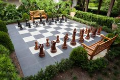 Outdoor Games Like Horseshoes and Giant Chess - Fun Backyard Activities Outdoor Lawn Games to Lure Y Garden Games, Backyard Games, Outdoor Games, Outdoor Fun, Backyard Landscaping, Outdoor Decor, Landscaping Ideas, Landscaping Edging, Outdoor Toys