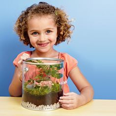 Terrific Terrarium - Image Collection  Bring nature indoors and create your own tiny, tropical ecosystem.  What you'll need        wide, clear, lidded container (we got ours at Michaels)      pebbles      activated carbon (sold at pet stores)      soil      stones, moss, and small plants*      spray mister      decorations (optional)