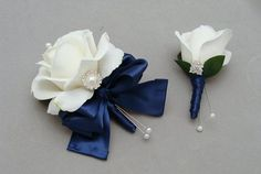 Note: the little one! White and Navy Real Touch Rose Wedding Boutonniere & Wedding Corsage with Rhinestone Pearl Accents Navy Ribbon