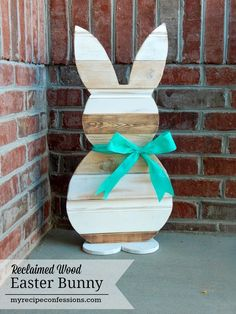 Reclaimed Wood Easter Bunny. This was a fun diy Easter project! The reclaimed wood gives the bunny a beautiful vintage look. If you like diy crafts, you have got to check out this step by step tutorial. All you neighbors are going to be jealous of your Easter bunny!