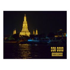 Shop Wat Arun at Night Postcard created by GirlTravelFactor. Rising Sun, One Light, Asia Travel, Postcard Size, Empire State Building, Bangkok, Travel Inspiration, Temple, Travel Destinations