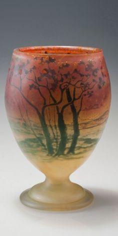 Intercalaire-Vase mit Heidelandschaft, 1903-04 Bergé, Henri - Daum Frères, Nancy