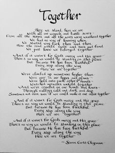 Husband to Wife, Wife to Husband, Anniversary Gift, Christian Anniversary, Steven Curtis Chapman song Together, Wedding Gift, hand written
