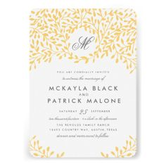 #mustard #yellow #gold #colored #floral #flower #flowers #design #wedding #black #white #invitations #invites #elegant #ornate #foliage #tree #branch #spring #rustic #unique #stylish #monogram #monogrammed #cute #origami #prints #matching #set #collection #rsvp #cards #with #stationery #table #numbers #number #insert #directions #menu