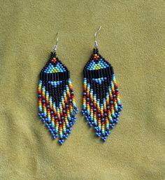 Rainbow blue short beaded earrings, hand made by Suzanne Flumerfelt in Yukon, Canada