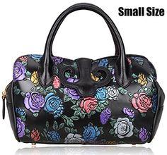 Pijushi Floral Collection Women's Genuine Leather Top Handle Handbag Tote Satchel Cross Body Bag with Adjustable Shoulder Strap Drop 91813 (Small Size Black Rose) $386.16