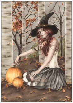 Happy Halloween Pumpkin Tree Leaves Autumn Art
