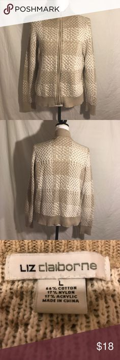 Liz Claiborne Zip Up Sweater, Size Large This sweater is in great condition.  It is 66% cotton, 17% nylon and 17% acrylic.  It is machine washable.   Pit to pit is 21 Inches Waist is 19 1/2 Inches Length is 25 Inches Liz Claiborne Sweaters