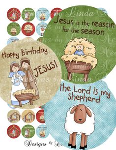 Instant Download - CHRISTmas Nativity JESUS is the REASON for the Season (1 inch Round) bottlecap Digital Collage Sheet - sticker magnet
