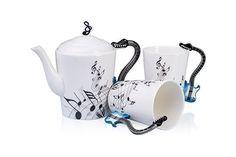 "VENKON - Musikalisches 3-teiliges Keramik Teeservice ""Tea-For-Two"" im E-Gitarren Design mit Noten Verzierung"