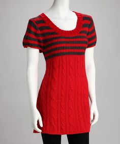 Take a look at this Red & Gray Stripe Sweater by Papillon Imports on #zulily today!
