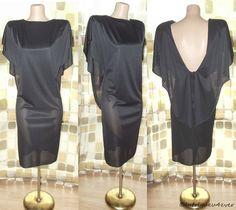 Vintage 70s 80s Draped Cocktail Dress Deep Plunge Caped Back AVANT GARDE 9/10M/L $9.99