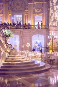San Francisco Wedding: Now This Is Luxury - MODwedding Featured Photographer: Vero Suh; Ballroom Wedding Reception, Indoor Wedding Receptions, Luxury Wedding Venues, Wedding Events, Wedding Mandap, Wedding Stage, Wedding Halls, Reception Party, Reception Ideas