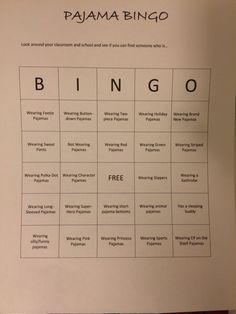 For parents and teachers alike. Does your school have pajama day? Make it funnier with a game of Pajama BINGO. Modify it for the season/time of year. This one was made for Christmas time. Make it a classroom getting-to-know-you activity and have the students go around the room and write the name of their fellow classmate in each square.
