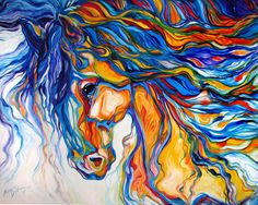 Abstract Animal Paintings | ... southwest abstract animal art equine fine horse oil original painting